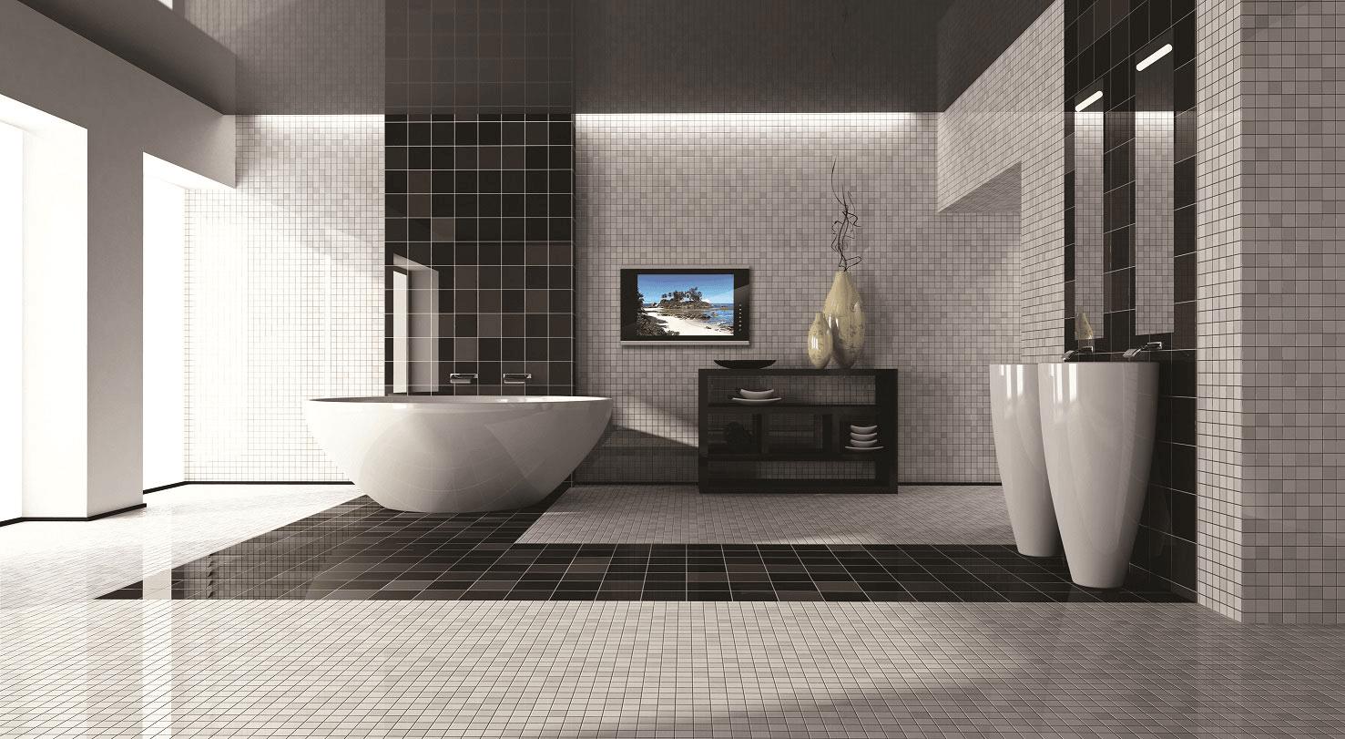 Design Bathroom met veel kleine witte steentjes en een aantal grote zwarte steentjes