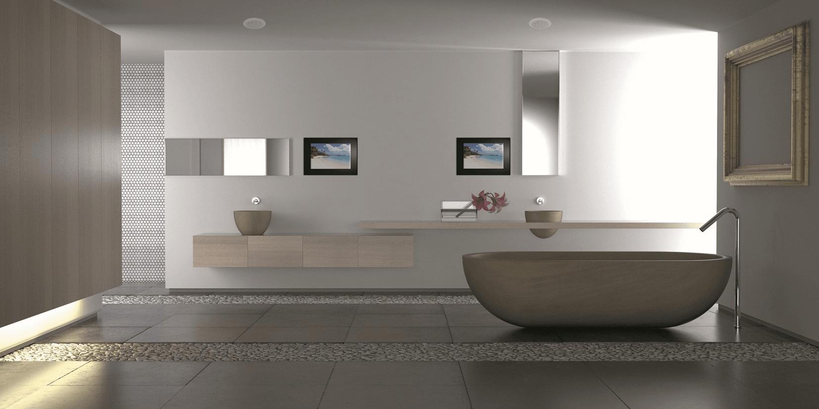 stenen badkamer met bruin-stenen bad