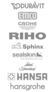 logo's van duravit, emco, grohe, riho, sphinx, sealskin, ideal standard, hansa en hansgrohe