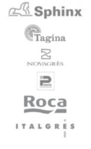 logo's van Sphinx, tagina, novagres, roca en italgres