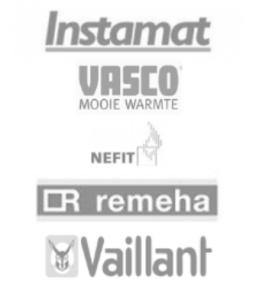 logo's van instamat, vasco, netfit, remeha en vaillant